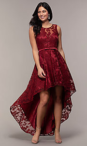 Image of lace high-low prom dress with satin belt. Style: LP-24056-1 Detail Image 6