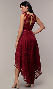Image of lace high-low prom dress with satin belt. Style: LP-24056-1 Detail Image 7