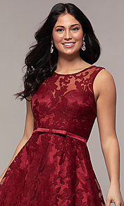 Image of lace high-low prom dress with satin belt. Style: LP-24056-1 Detail Image 8