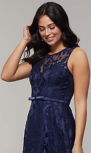 Image of lace high-low prom dress with satin belt. Style: LP-24056-1 Detail Image 1