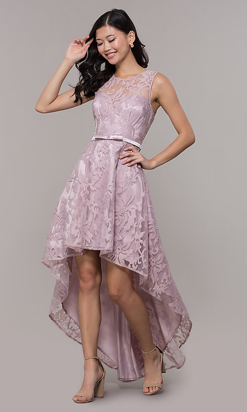 Image of lace high-low prom dress with satin belt. Style: LP-24056-1 Detail Image 3