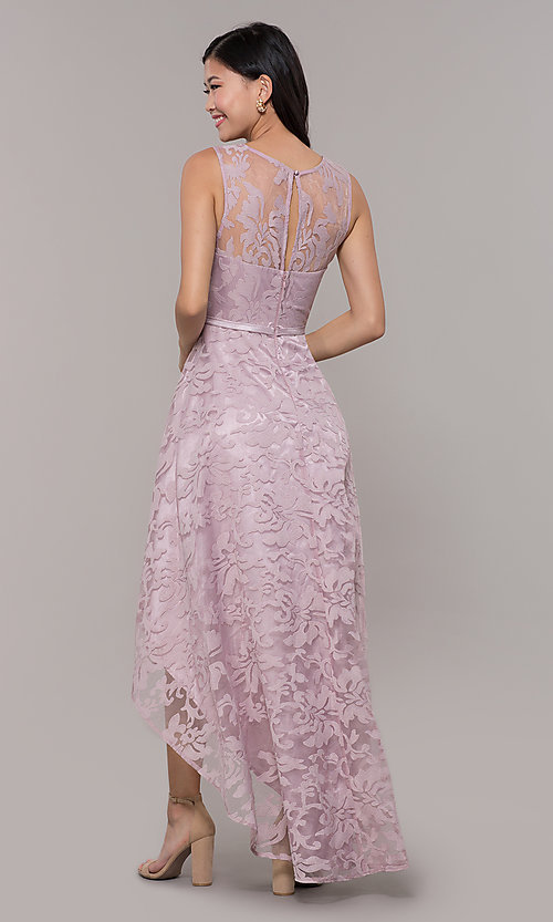 Image of lace high-low prom dress with satin belt. Style: LP-24056-1 Detail Image 4