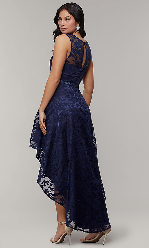 Image of lace high-low prom dress with satin belt. Style: LP-24056-1 Back Image