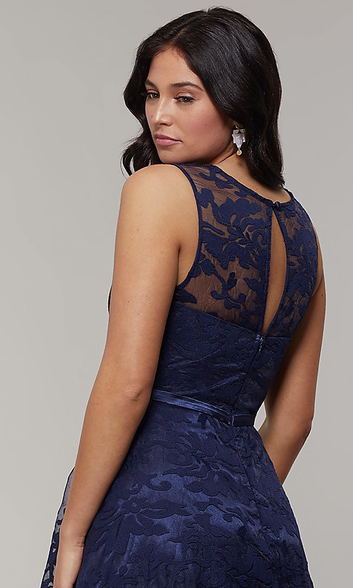 Image of lace high-low prom dress with satin belt. Style: LP-24056-1 Detail Image 2