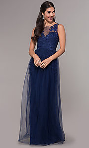 Image of embroidered-applique long tulle prom dress. Style: LP-25483 Front Image