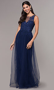 Image of embroidered-applique long tulle prom dress. Style: LP-25483 Detail Image 3