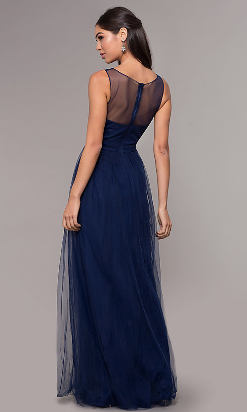 Image of embroidered-applique long tulle prom dress. Style: LP-25483 Back Image