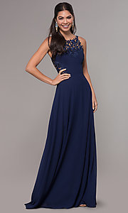 Image of long chiffon prom dress with lace-appliqued bodice. Style: LP-25803 Detail Image 3