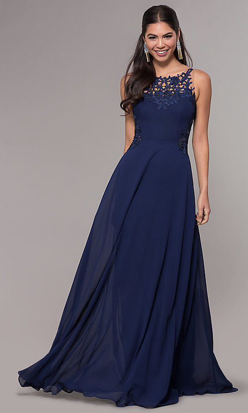 Image of long chiffon prom dress with lace-appliqued bodice. Style: LP-25803 Front Image
