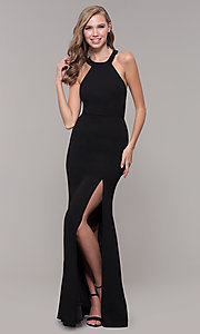 Image of sleeveless high-neck long formal dress for prom. Style: LP-25518 Back Image