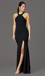 Image of sleeveless high-neck long formal dress for prom. Style: LP-25518 Front Image