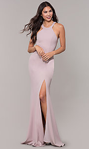 Image of sleeveless high-neck long formal dress for prom. Style: LP-25518 Detail Image 3