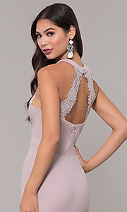 Image of sleeveless high-neck long formal dress for prom. Style: LP-25518 Detail Image 5
