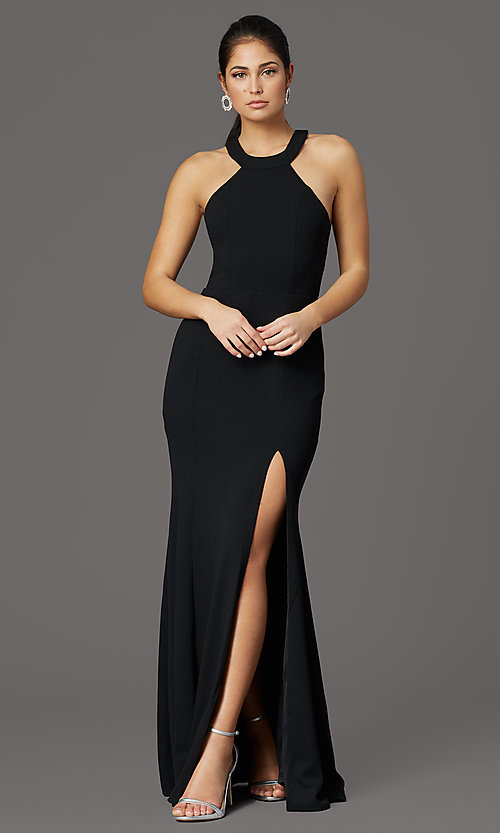 Image of sleeveless high-neck long formal dress for prom. Style: LP-25518 Detail Image 1