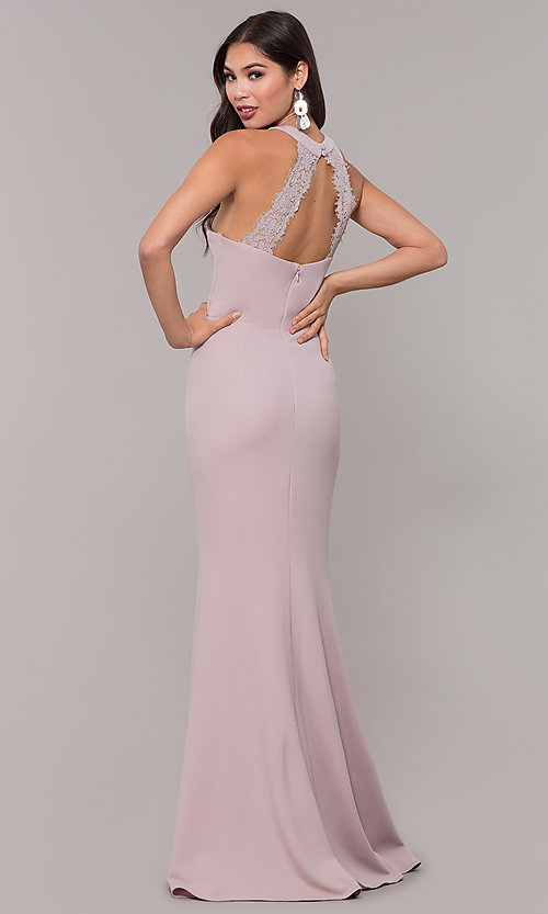 Image of sleeveless high-neck long formal dress for prom. Style: LP-25518 Detail Image 4