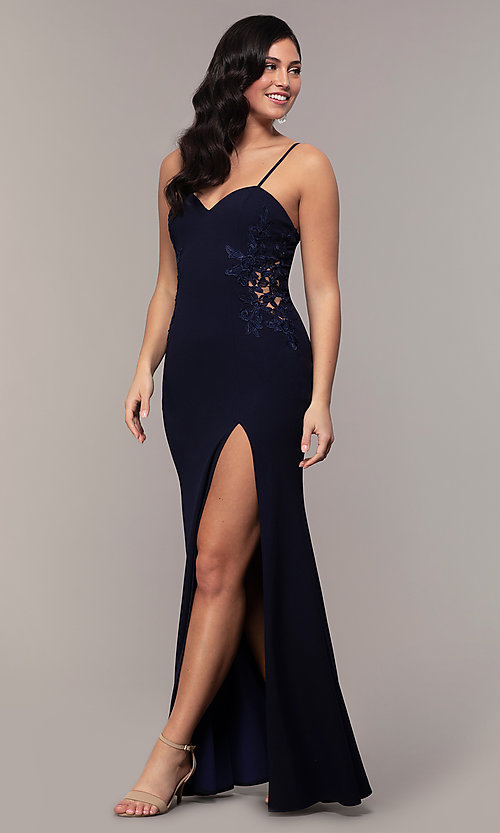 Image of sleeveless long formal sweetheart prom dress. Style: LP-25426 Detail Image 4