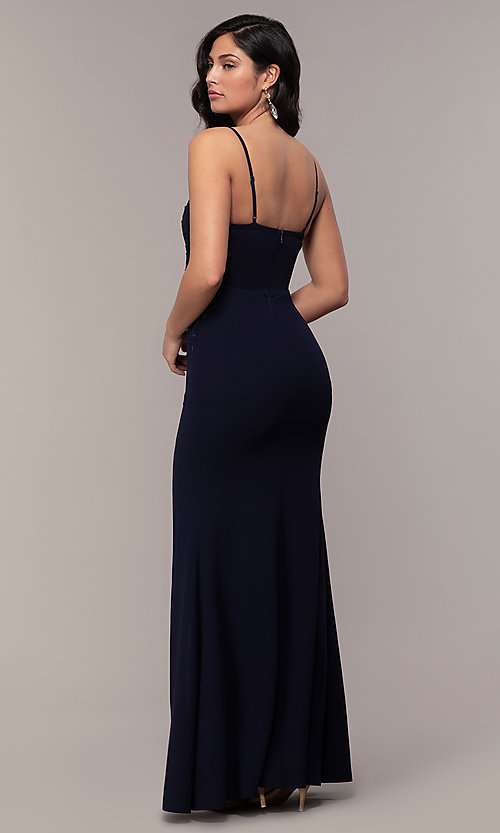 Image of sleeveless long formal sweetheart prom dress. Style: LP-25426 Detail Image 5