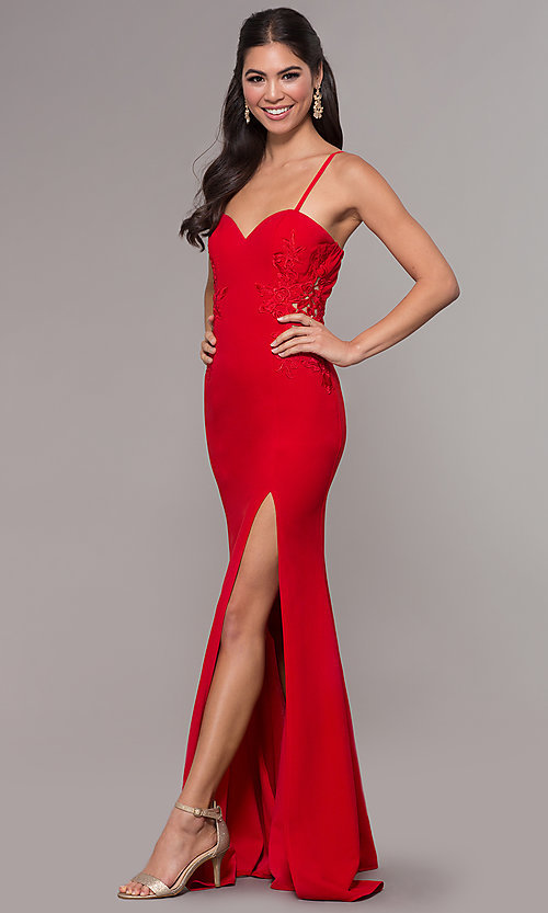 Image of sleeveless long formal sweetheart prom dress. Style: LP-25426 Detail Image 3