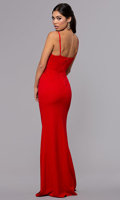 Image of sleeveless long formal sweetheart prom dress. Style: LP-25426 Back Image