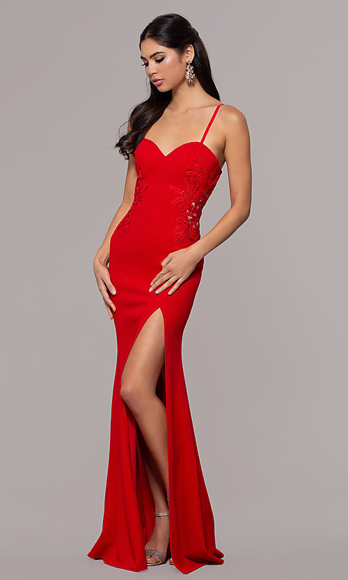Image of sleeveless long formal sweetheart prom dress. Style: LP-25426 Front Image