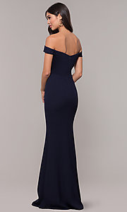 Image of off-shoulder embroidered-bodice long formal dress. Style: LP-25557 Back Image