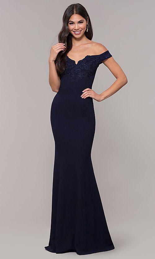 Image of off-shoulder embroidered-bodice long formal dress. Style: LP-25557 Detail Image 3