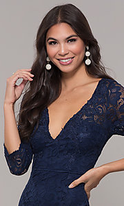 Image of long 3/4-sleeve v-neck lace formal prom dress. Style: LP-27691 Detail Image 1
