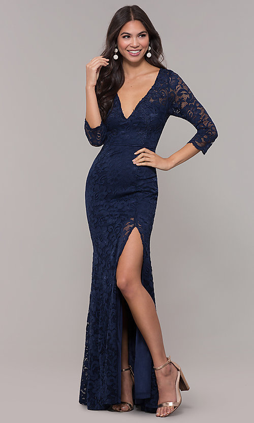 Image of long 3/4-sleeve v-neck lace formal prom dress. Style: LP-27691 Front Image