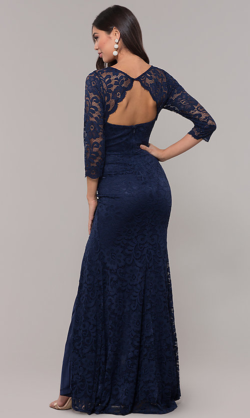 Image of long 3/4-sleeve v-neck lace formal prom dress. Style: LP-27691 Back Image