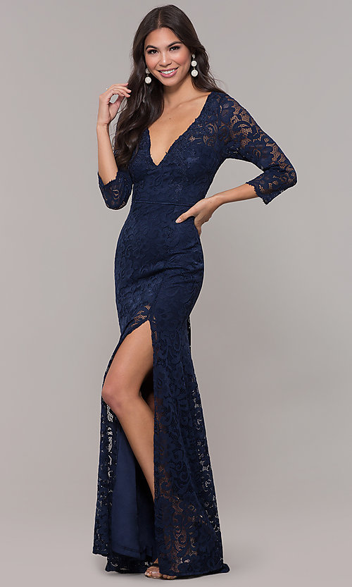 Image of long 3/4-sleeve v-neck lace formal prom dress. Style: LP-27691 Detail Image 3