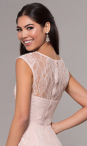 Image of high-low illusion-sweetheart lace prom dress. Style: LP-27502 Detail Image 2
