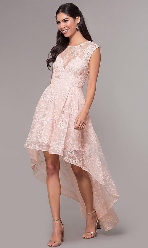 Image of high-low illusion-sweetheart lace prom dress. Style: LP-27502 Front Image