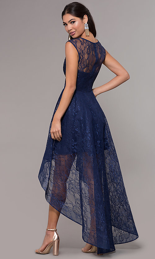 Image of high-low illusion-sweetheart lace prom dress. Style: LP-27502 Back Image