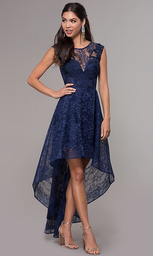 Image of high-low illusion-sweetheart lace prom dress. Style: LP-27502 Detail Image 3