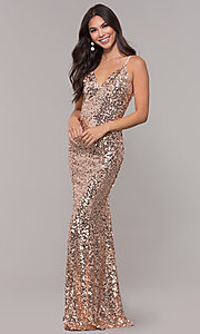 Image of long formal holiday sequin dress. Style: LP-25944 Detail Image 3