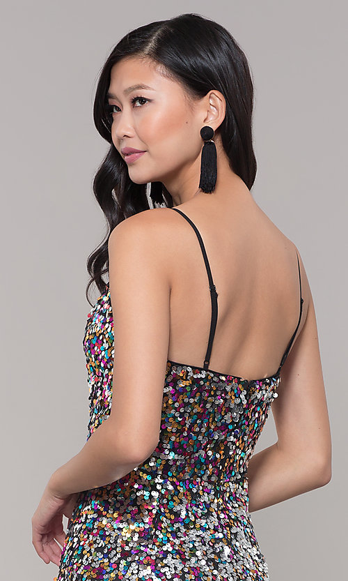Image of long formal holiday sequin dress. Style: LP-25944 Detail Image 7