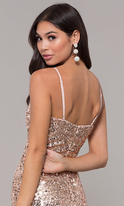 Image of long formal holiday sequin dress. Style: LP-25944 Detail Image 2