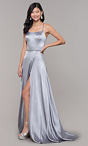 Image of open-back long prom dress with beaded waistband. Style: CLA-3712 Detail Image 3