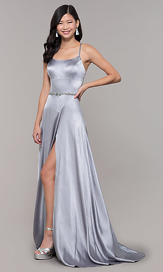 Open-Back Long Prom Dress with Beaded Waistband