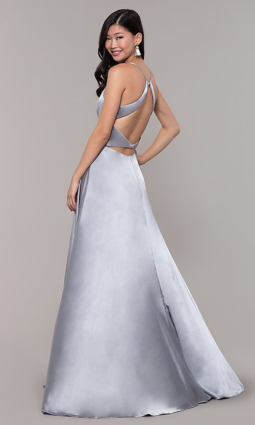 Image of open-back long prom dress with beaded waistband. Style: CLA-3712 Detail Image 4