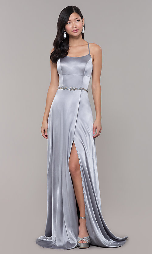 Image of open-back long prom dress with beaded waistband. Style: CLA-3712 Detail Image 7