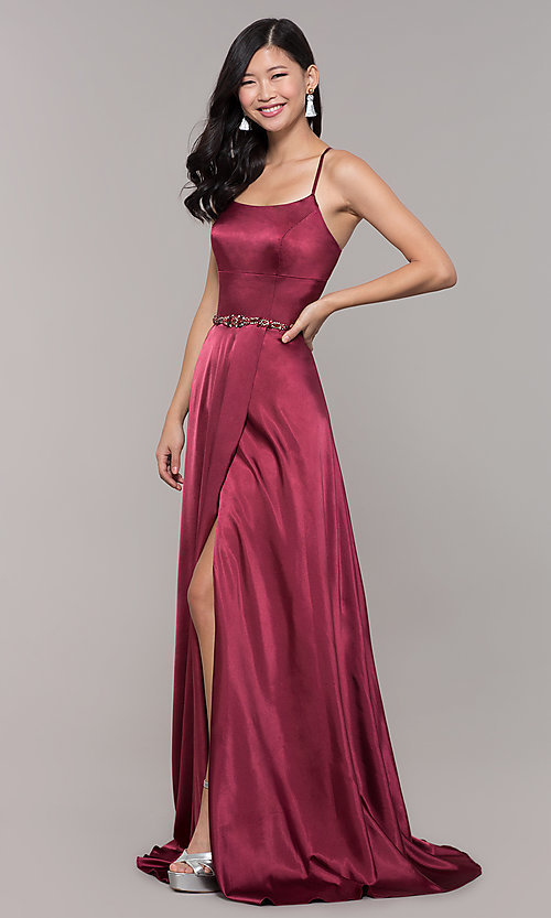 Image of open-back long prom dress with beaded waistband. Style: CLA-3712 Back Image