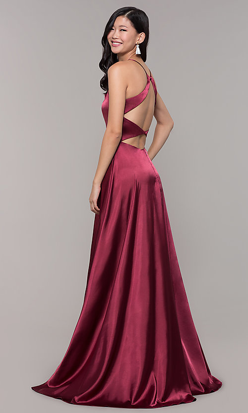 Image of open-back long prom dress with beaded waistband. Style: CLA-3712 Front Image