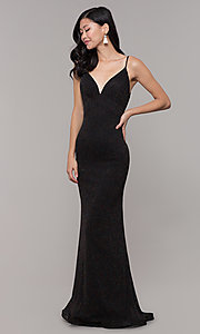 Image of low-back shimmer-knit long formal dress. Style: CLA-3728 Back Image
