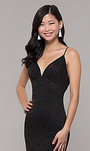 Image of low-back shimmer-knit long formal dress. Style: CLA-3728 Detail Image 2