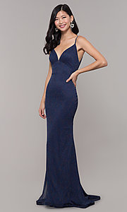 Image of low-back shimmer-knit long formal dress. Style: CLA-3728 Detail Image 7