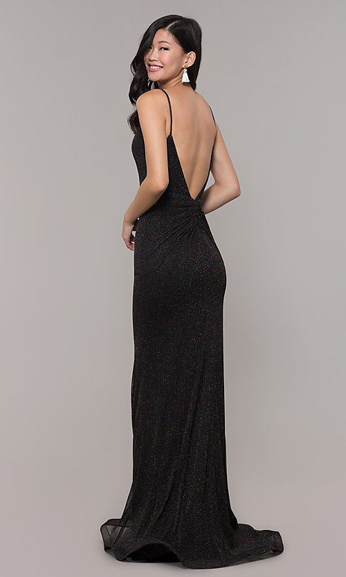 Image of low-back shimmer-knit long formal dress. Style: CLA-3728 Front Image