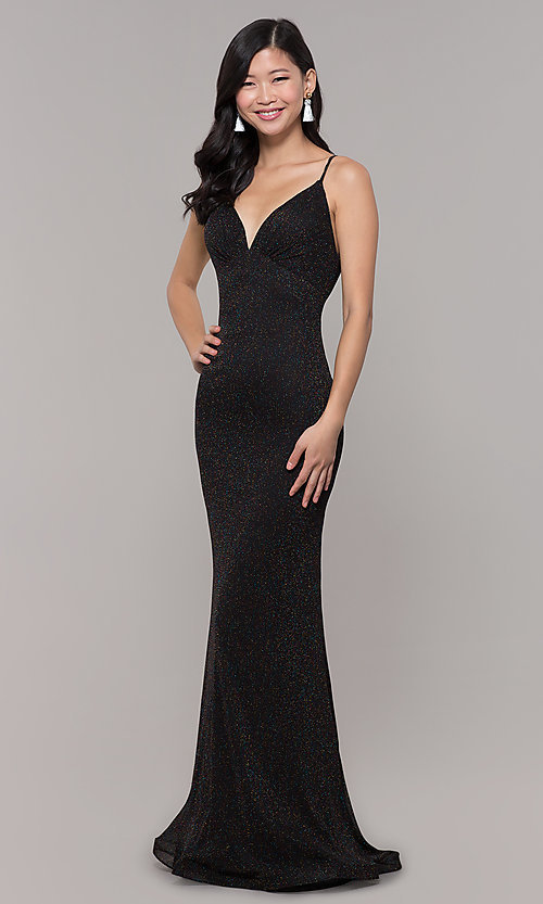 Image of low-back shimmer-knit long formal dress. Style: CLA-3728 Detail Image 3