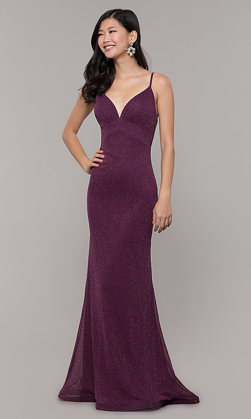 Image of low-back shimmer-knit long formal dress. Style: CLA-3728 Detail Image 4