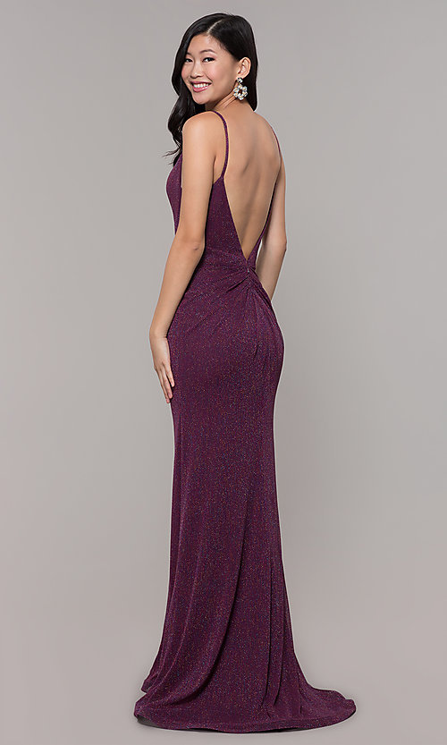 Image of low-back shimmer-knit long formal dress. Style: CLA-3728 Detail Image 5